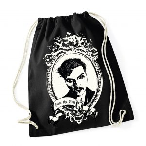 Marc C. Behrens auf einem Beutel Gym-Sack The Metafiction Cabaret - Fan - merchandise